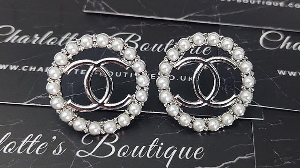 ◇Large Double C Pearl Earrings◇