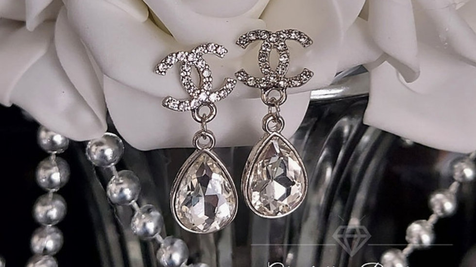 ◇Double C Crystal Drop Earrings◇