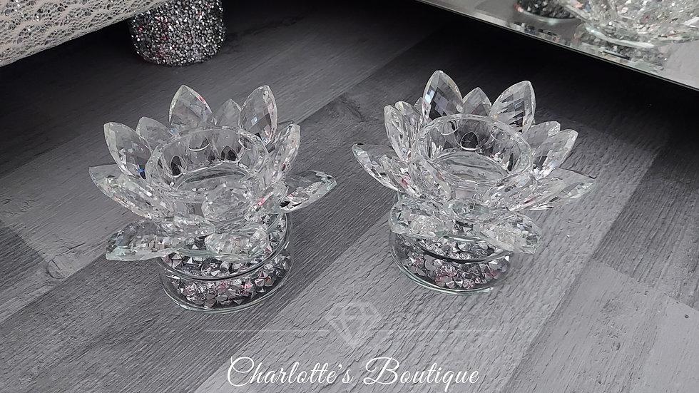 ◇Pair of Spinning Glass&Diamonds Lotus Flower Tealight Holders◇