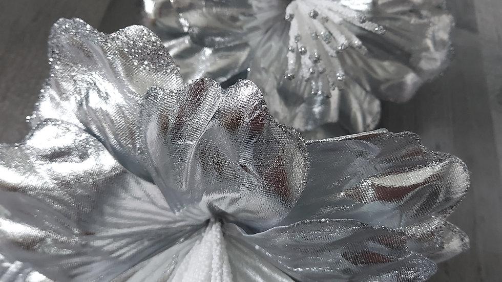 ◇3 Head Silver Foily Flower Stem◇