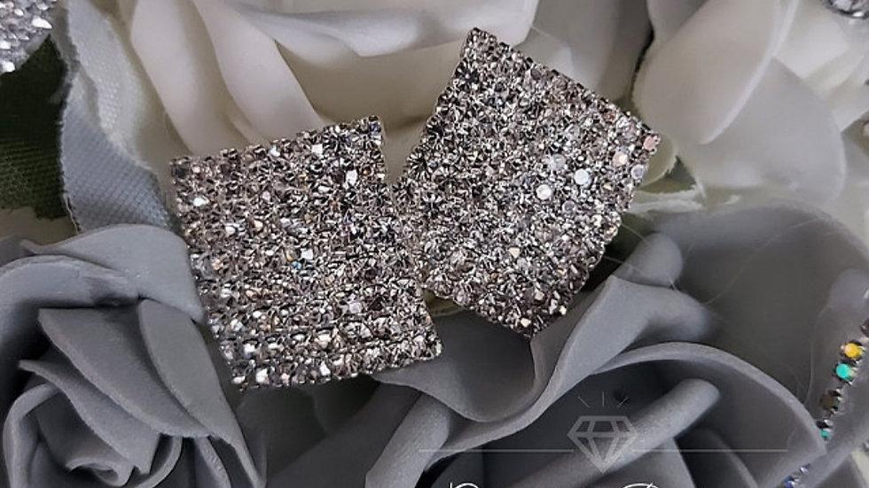 ◇Rectangle Crystal Earrings...Silver◇