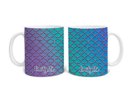 Mermaid Personalised Name Flowing Heart Custom Mug, Birthday Christmas Gift