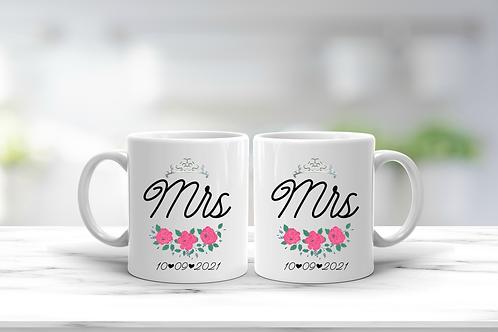 Wedding Mrs And Mrs Mug Gift Set