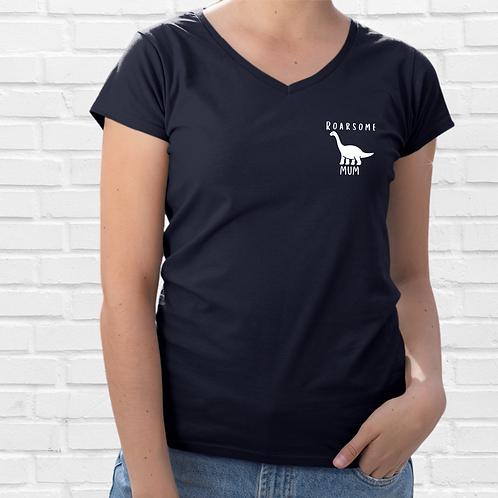 Roarsome Navy V Neck Womens T Shirt