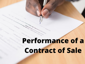 PERFORMANCE OF A CONTRACT OF SALE
