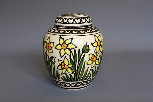 Slip-trailed Daffodil Biscuit Jar