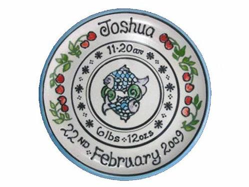 Handmade Personalised Pisces Christening Plate