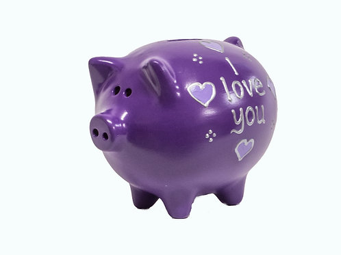 'I Love You' Handmade Piggy Bank - Add any name or message