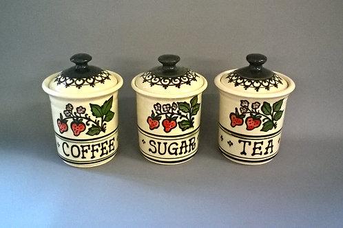 Hand-thrown Strawberry Tea Coffee Sugar Jars