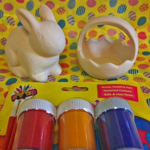 'Paint Your Own' Kit 46 -Easter basket & Small rabbit money box