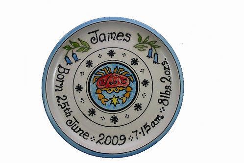 Handmade Personalised Cancer Christening Plate