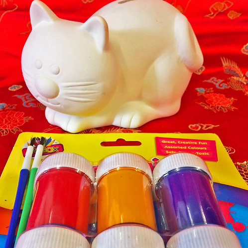 'Paint Your Own' Kit 32 -Cat moneybox