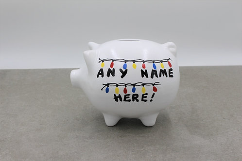Lights stranger things style Piggy Bank (More background colours)