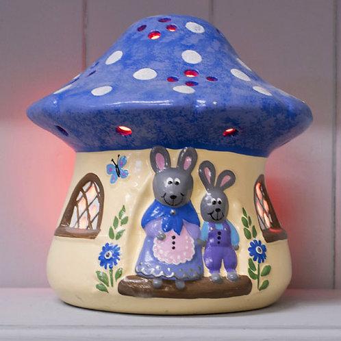 Handmade Ceramic 'Mushroom Rabbit House' Children's Nightlight [3 colours]