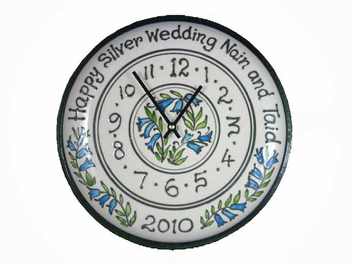 Personalised Handmade Commemorative Bluebell Clock