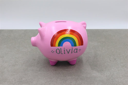 Rainbow Piggy bank (More background colours available)