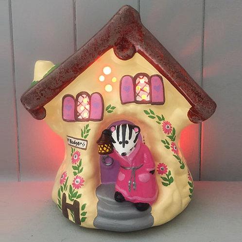 Handmade Ceramic 'Badger's Tree House' Children's Nightlight (Blue or Pink)