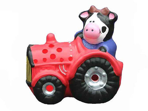 Handmade Ceramic 'Cow in Tractor' Children's Nighlight