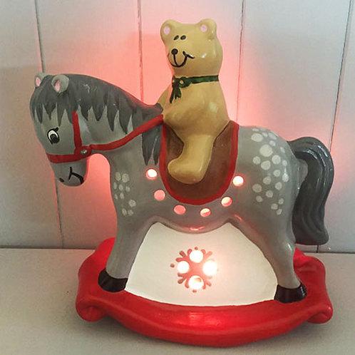 Handmade Ceramic 'Rocking Horse' Children's Nightlight [3 colours]