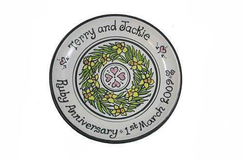 Handmade Personalised Floral Wreath Wedding Plate