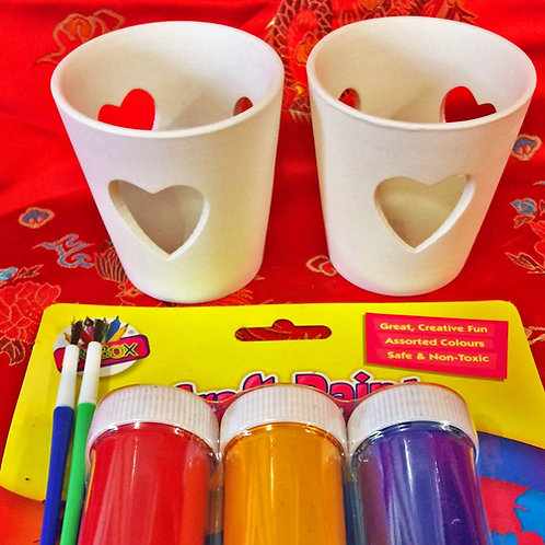 'Paint Your Own' Kit 38 -Two Heart tealights