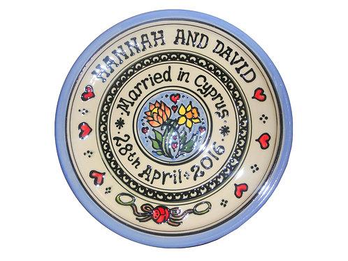 Handmade Ceramic Personalised Wedding Plate Gift