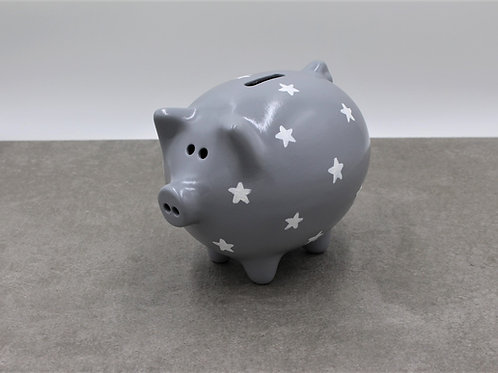 White stars piggy bank (More background colours available)