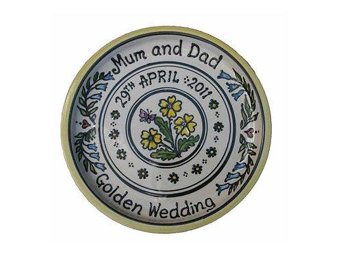 Handmade Personalised Floral Wedding Plate