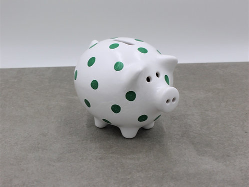 White piggy bank with spots (More spots colours available)