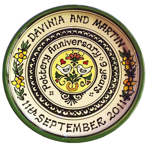 Handmade Ceramic Personalised Wedding Anniversary Plate Gift