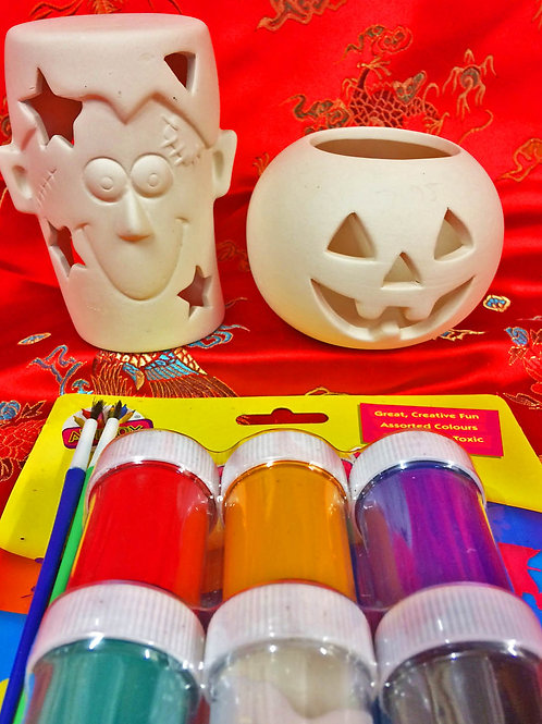 'Paint Your Own' Kit 63 - Frankenstein & Pumpkin tealight