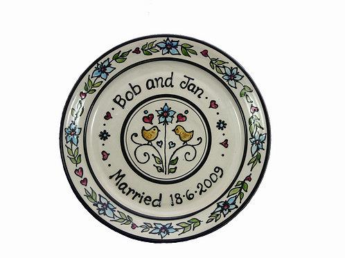 Handmade Personalised Love Birds Wedding Plate
