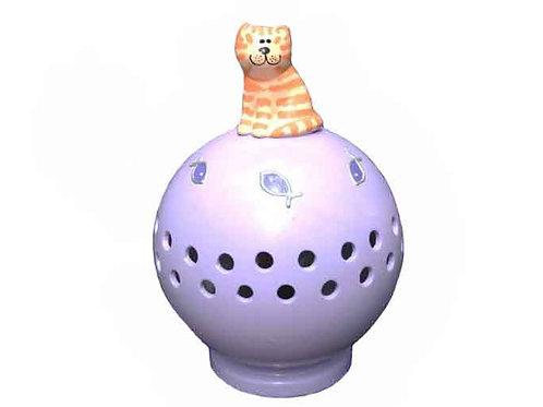 Handmade Ceramic 'Tabby Cat' Globe Nightlight