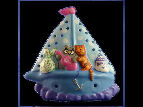 Handmade Ceramic 'Owl & The Pussycat' Children's Nightlight