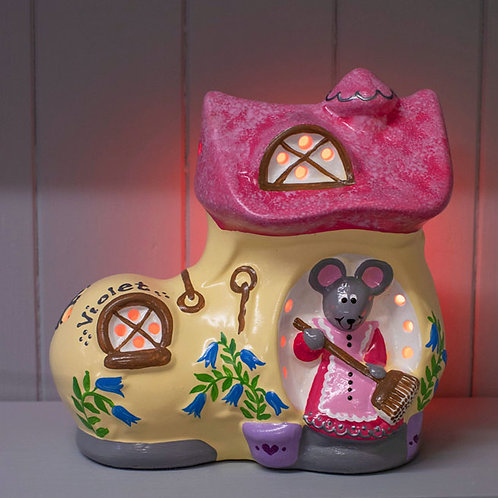 Handmade Ceramic 'Mouse in a Boot' Children's Nightlight