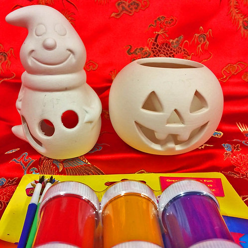 'Paint Your Own' Kit 62-Ghost & Pumpkin tealight
