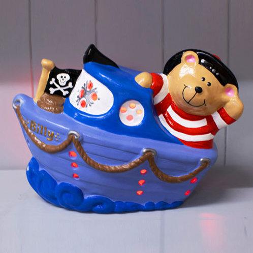 Handmade Ceramic 'Pirate Boat Ted' Children's Nightlight