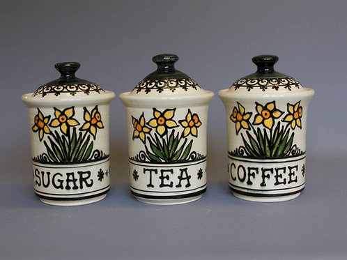 Hand-thrown Daffodil Tea Coffee Sugar Jars