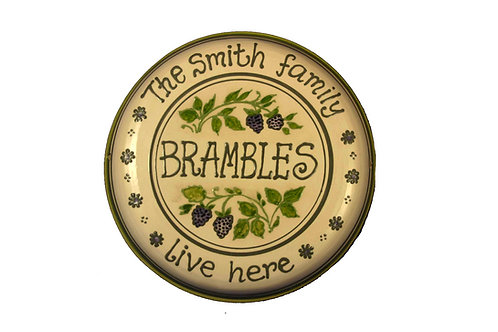 Handmade Personalised Blackberry House Plate