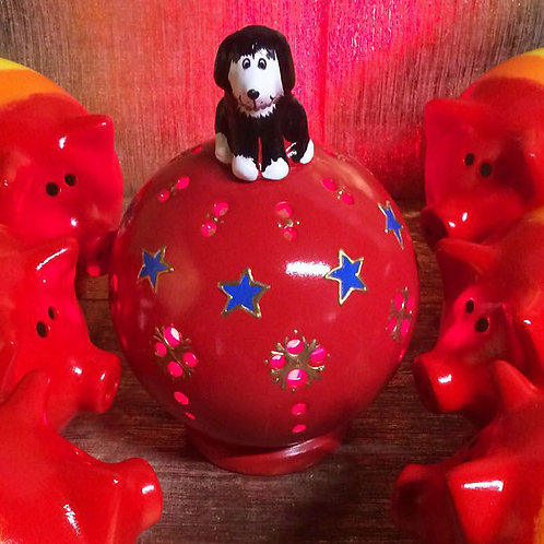 Handmade Ceramic Dog Globe Nightlight