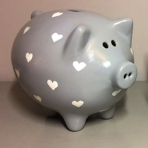 White Hearts piggy bank (More background colours available)