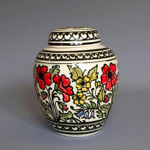 Slip-trailed Floral Biscuit Jar