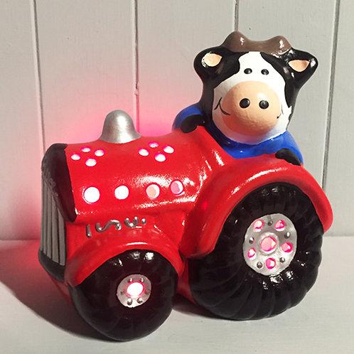 Handmade Ceramic 'Cow in Tractor' Children's Nighlight