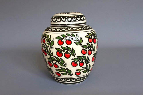 Slip-trailed Cherry Biscuit Jar