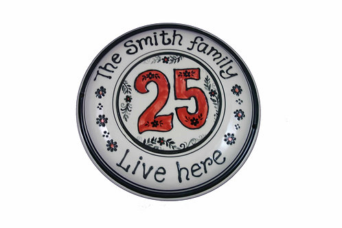 Handmade Personalised Family House Number