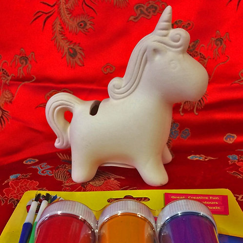 'Paint Your Own' Kit 40 - Small Unicorn money box