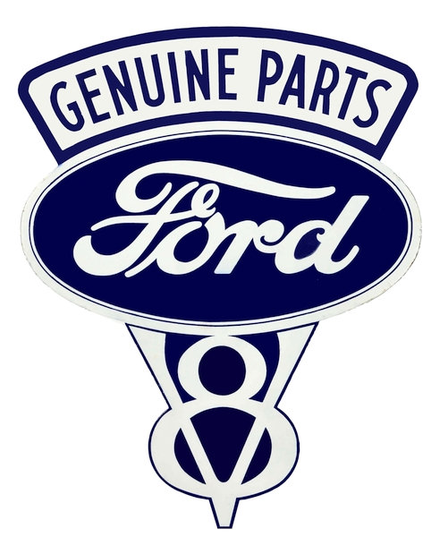Mid-20th Century Ford V8 Genuine Parts metal sign