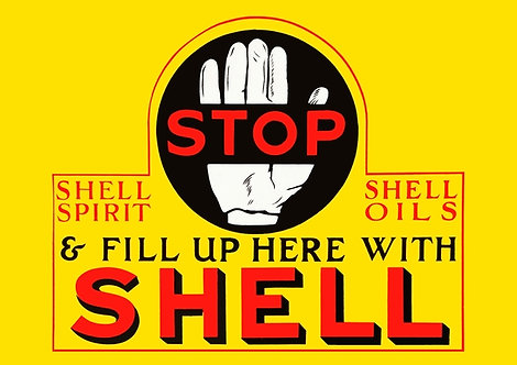 Stop & Fill Up Here With Shell sign