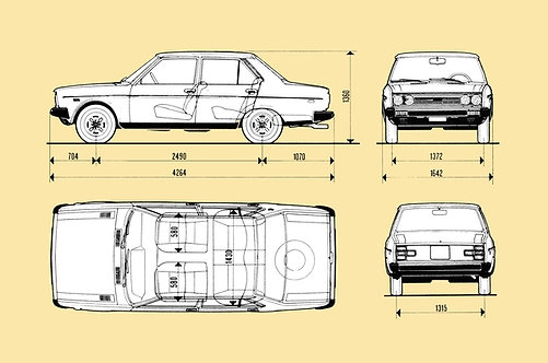 Fiat 131 Drawing sign