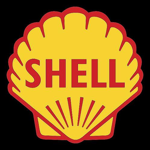 Shell (black background) metal sign